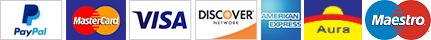 PayPal, MasterCard, Visa, Discover, American Express, Aura, Maestro